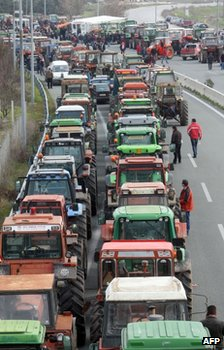 Tractors parked on a road near near Nikaia, Greece, 29 January