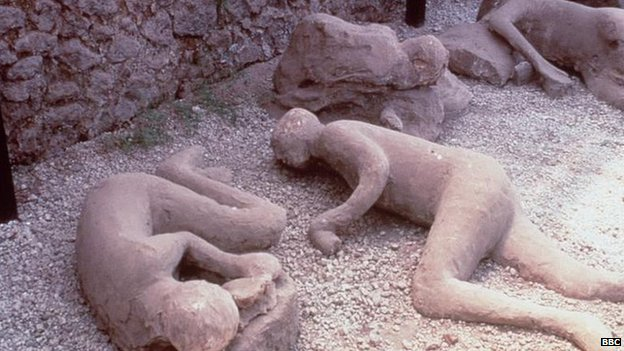 Lava-coated bodies of victims of the volcano in Pompeii, Italy (file image)