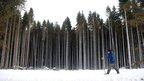 Don Clegg 80, enjoys a walk in Kielder Forest, Northumberland,