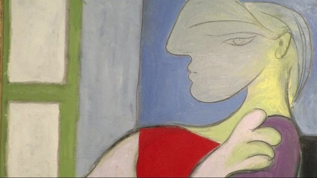 Close up of Picasso's Femme Assise Pres d'une Fenetre