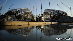 A view of the construction site of Fisht Olympic Stadium which will host the opening and closing ceremonies