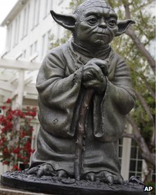 Yoda statue outside Lucasfilm's San Francisco offices