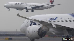 All Nippon Airways Dreamliner taxis for takeoff