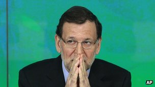 Spanish Prime Minister Mariano Rajoy attends a crisis meeting of his Popular party in Madrid, 2 February