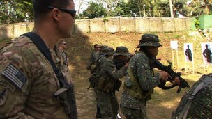 US and Philippines soldiers at a firing range