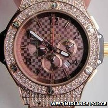Diamond-encrusted Hublot watch