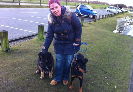 Rachel and her two dogs in Stoke