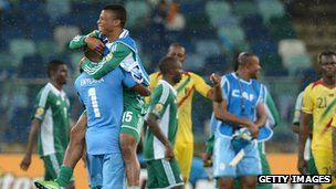 Nigeria celebrate reaching the Africa Cup of Nations final