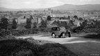 An Austin 7 negotiates a bend near Ludlow in Shropshire in the 1930s