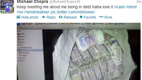 Michael Chopra posted a picture of a bag of money on Twitter