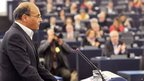 Tunisian President Moncef Marzouki condemning Mr Belaid's murder at the European Parliament in Strasbourg on Wednesday