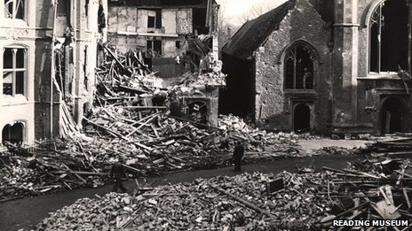 Reading Town Hall Square after being bombed in 1943