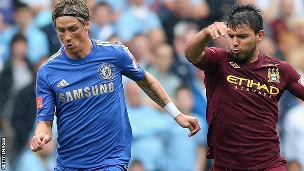 Chelsea&#039;s Fernando Torres and Sergio Aguero of Manchester City