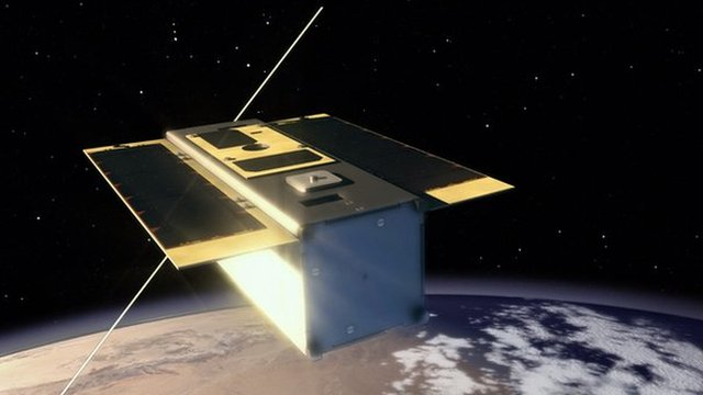 Artist's rendition of the satellite in orbit