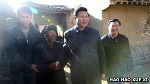 Xi Jinping in a village