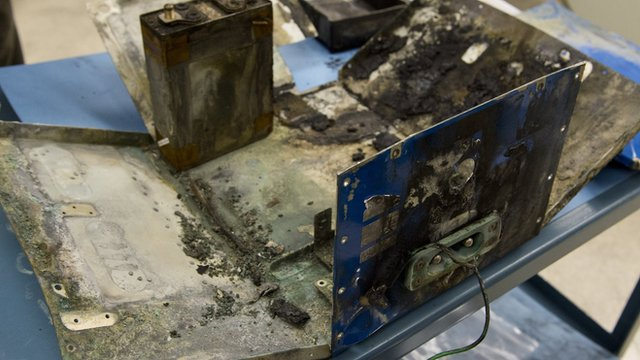 Damaged battery of the Japan Airlines 787 plane