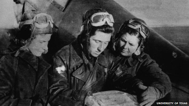 Lilya Litvyak, Katya Budanova and Mariya Kuznetsova on the tail of a Yak-1