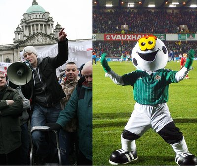 Jamie Bryson made a brief appearance as the official mascot for the Northern Ireland football team