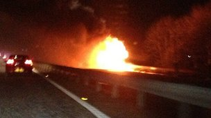 The lorry was on fire on Wednesday night at the side of the motorway