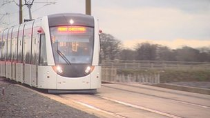 Tram on the test track at Gogar depot