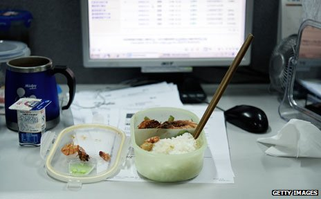 Chinese lunch left in front of computer
