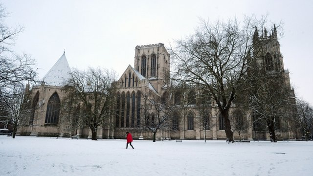 Snow-covered York Minster 