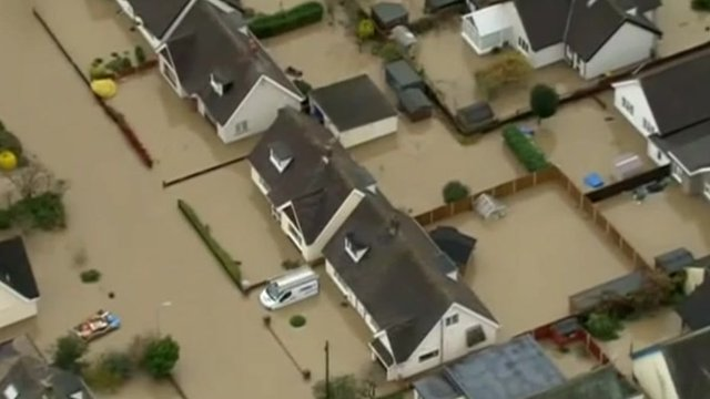 Aerial picture of flooded streets