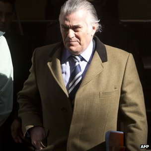 """Former PP (Popular Party)""""s treasurer Luis Barcenas leaves the anti-corruption prosecuting office in Madrid"""