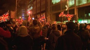 The protest started outside Belfast City Hall on Monday 3 December