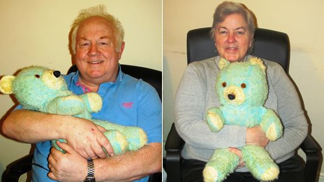 "Two separate photos of Bill and his wife each holding ""Ted E. Bear"""