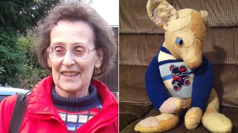 "Vera and her patched up bear with one eye, ""Big Ted"""