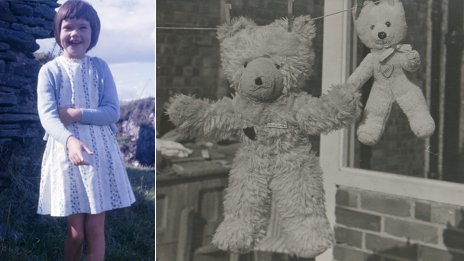 "Paula as a child (l) and ""Big Ted"" and the lost ""Little Ted"" hanging out to dry on a washing line"