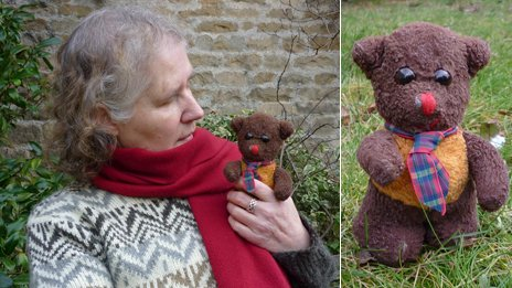 Heather holding her bear Frank; Frank in the garden