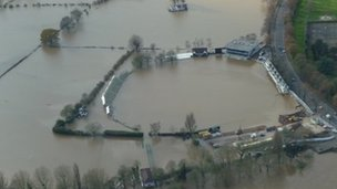 Worcestershire County Cricket Club's New Road ground flooded in November 2012