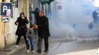 Family flees tear gas in Tunis