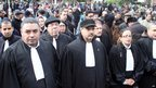 Lawyers join in the protests against the killing of Mr Belaid