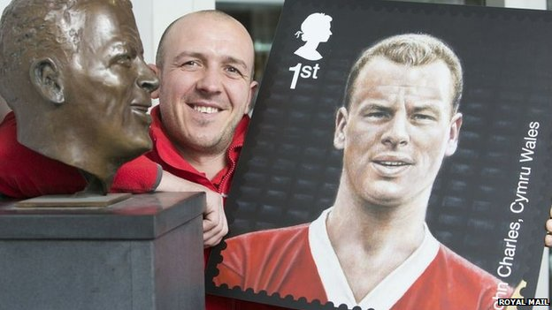 Gary Richards, former Swansea City star and now a postman, with the John Charles stamp