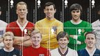 (top) Jimmy Greaves, John Charles, Gordon Banks, George Best, John Barnes (bottom) Denis Law, Bobby Moore, Bryan Robson, Dave Mackay
