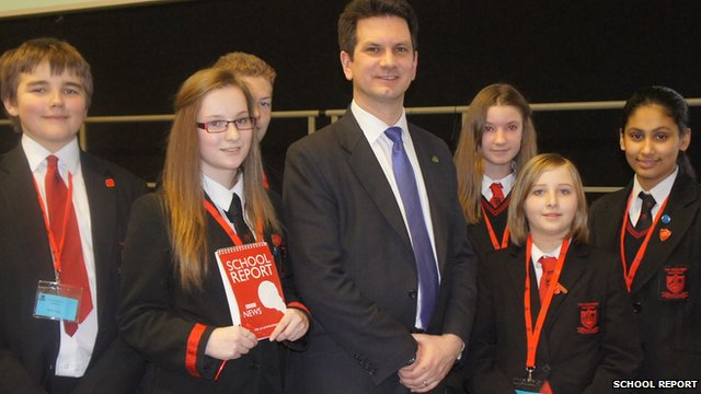 MP Steven Baker with The Highcrest Academy school reporters