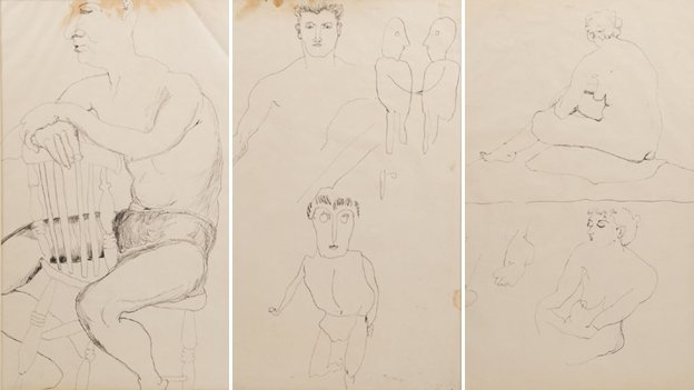 Three sketches by Lucian Freud