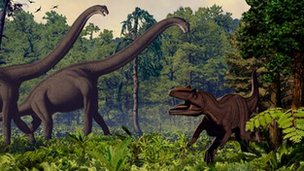 Brachiosauruses and an allosaurus come into conflict
