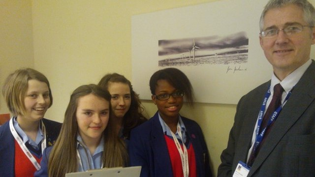 Matilda, Alana, Hope and Holly from St Joseph's Catholic College, Bradford with their headmaster Mr Heitzman