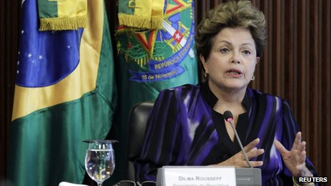 Dilma Rousseff at a meeting in Brasilia in February 2013