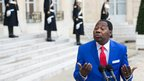 Benin's President Thomas Boni Yayi  speaking to journalists in Paris, France - Wednesday 6 February 2013