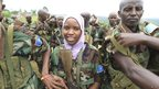 A smiling female Somali soldier in Uganda - Friday 1 February 2013