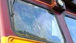 Damaged cab window