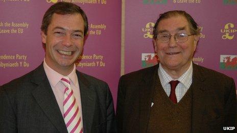 UKIP leader Nigel Farage and David Rowlands