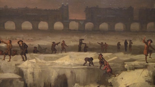 Painting showing the River Thames frozen over