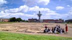 The site of the excavated fort with the viewing tower in the background