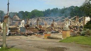 Chilford Hall fire damage